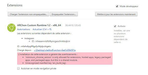 installation extension Archon dans google chrome