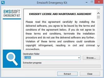 Emsisoft Emergency Kit extraction