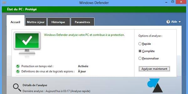 Interface windows defender