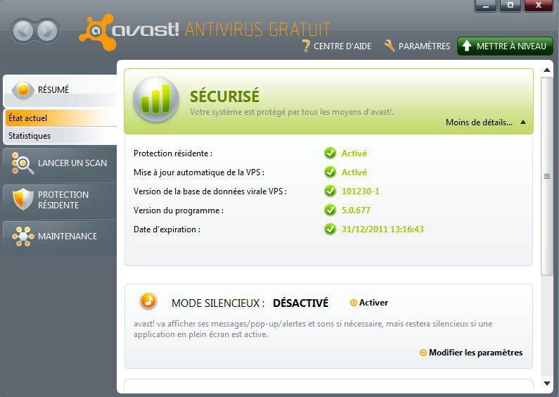 interface d'Avast Antivirus