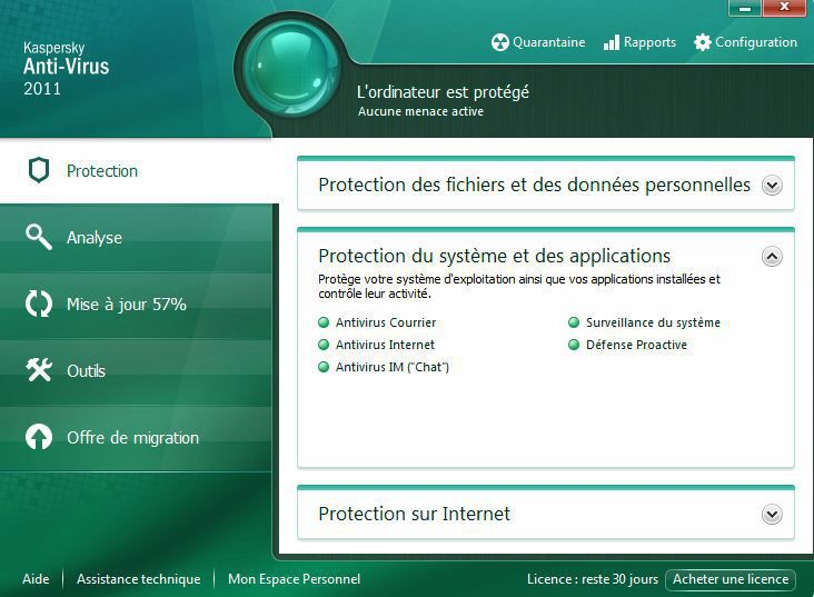 interface de Kaspersky anti-virus