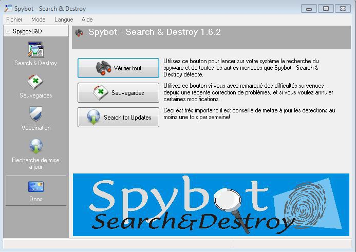 interface de spybot search and destroy