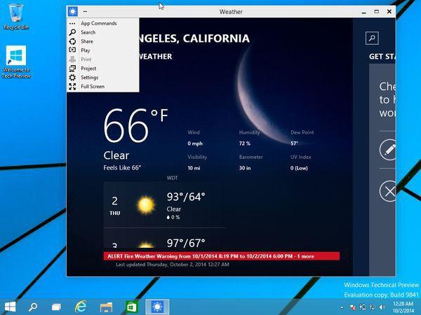 Nouvelle barre des Charmes dans Windows 10