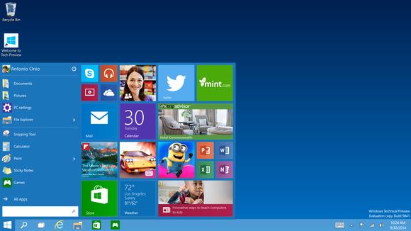 Nouveau menu démarrer dans Windows 10